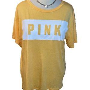 VS PINK Marigold Yellow Oversized Logo Tee